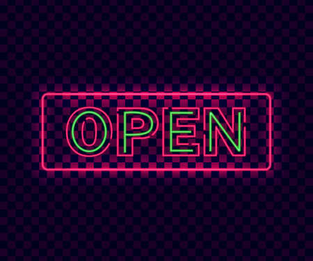 Neon open. Violet neon open sign on transparent background. Glowing laser banner. Design signboard template with open text and lights. Square sign. Isolated vector illustration