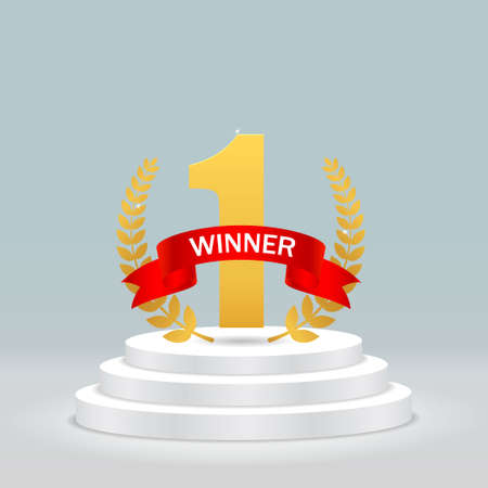 Round podium with 1 for winner. Realistic pedestal with gold one trophy, olive branch, red ribbon for congratulation. First winner competition on scene on isolated background. Vector illustration