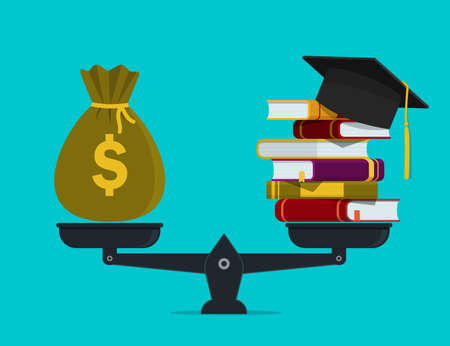Pile of books with money on scales. Financial investment in knowledge, education concept. Worth of student education. Stack of book, bag of dollar. Financial payment for study of school. flat vector