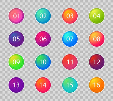 Bullet marker icon. Number points 1, 3, 4, 5, 7, 9, 10, 12 for infographic, presentation. Set of graphic button for scheme. Circle point in gradient color.