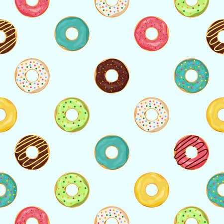Donut seamless pattern. Sweet summer seamless with cupcake and glazing. Cute donuts for kids. Food dessert or snack for print backdrop. Chocolate cake pattern on texture wallpaper. vector illustration