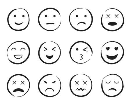 Emiji smile face hand drawn style. Happy, sad, angry face doodle icon. Emoji for social media. Cartoon people faces on isolated background. Expression emotion line style. Design vector illustration Иллюстрация