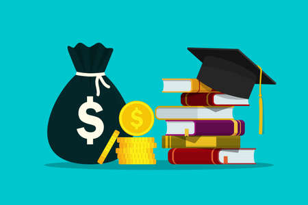 Scholarship for knowledge. Investment in education of student. Hat on stack of books and money for tuition. Study fee. Concept of loan for bachelor of college. Academic degree. Design flat vector Иллюстрация