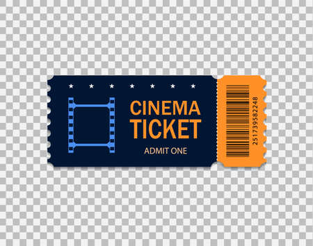 Ticket of cinema for movie. Template blue VIP entry pass ticket for theater, festival, cinema on isolated background. Pass ticket on film.