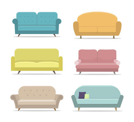 Set of sofa or couch. Flat house sofas on isolated background. Apartment furniture, office. Collection of divan for room interior. Armchair for lounge. Modern cartoon couch. Design vector illustration Иллюстрация