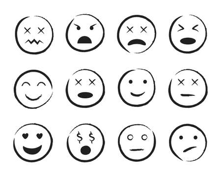 Emiji smile face hand drawn style. Happy, sad, angry face doodle icon. Emoji for social media. Cartoon people faces on isolated background. Expression emotion. Set of mood. Design vector illustration