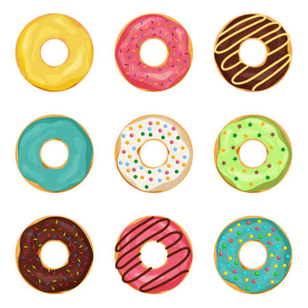 Donuts with glaze on isolated background. Set of cartoon donut with chocolate cream for coffee. Sweet dessert. Frosted decoration of yummy cake. Flat donut with sugar glaze. Tasty pastry. vector Ilustración de vector