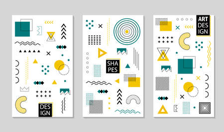 Design geometric poster with abstract memphis shapes. Geometric pattern texture with lines, grid, circles for poster, social media. Graphic pattern with halftone dots. Minimal geometry banner. vector