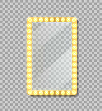 Makeup mirror frame or neon billboard with reflection. Empty signage frame with bulbs for interior room, comic frame. Gold frame with lamp in retro style. Glowing golden signboard. Isolated vector. Иллюстрация