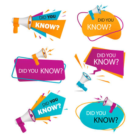Did you know badges. Knowledge base label with megaphone. Information tag with question speech bubble. Knows interesting fact sticker, banner. Set idea icon for marketing. Isolated vector illustration
