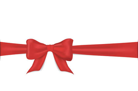 Realistic red bow. Gift bow and ribbon for present decoration. Gift knot for decor card, birthday banner. Satin ribbon on valentine isolated on white background. Present tape on package. Design vector