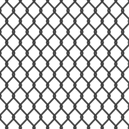 Chain link, fence pattern. Seamless fence, metal cage, black iron mesh. Chainlink wire of prison. Net for soccer on isolated background. Seamless jail grid. Design vector illustration Иллюстрация