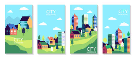 Town landscape set poster. Urban industry cards. Simple flat city with buildings, street and trees. Set of banner with nature countryside. Cityscape backgrounds for social media. vector illustration