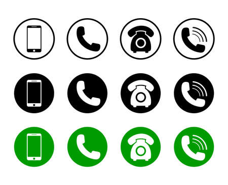 Mobile phone icon on isolated background. Set of call icon and telephone in black, green color in flat style for web. Phone symbol pack. Connection service sign. Design vector illustration Иллюстрация