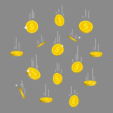 Rain of gold coins in flat style. Falling money from sky. Flying golden bitcoin on isolated background. Dropping dollar income. Investment finance in business. Falling currency. vector illustration