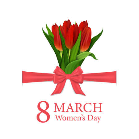 International women's day card. 8 march greeting card with bouquet of tulips for woman, mother. Spring flower with bow and ribbon on poster. Happy women's day on white background. vector illustration Иллюстрация