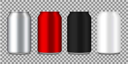Set of realistic aluminum cans for soda, beer, juice, cola. Metal or steel packaging for beverage. Color bottles. Silver, red, container for drinks. Blank aluminum canisters. vector illustration