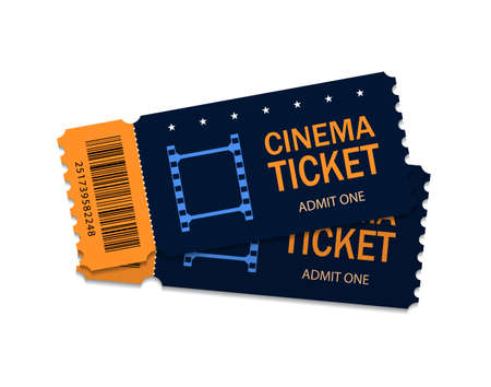 Ticket of cinema for movie. Template blue VIP entry pass two tickets for theater, festival, cinema on isolated background. Modern pass ticket on film. 3d paper coupon icon. vector illustration eps10 Иллюстрация