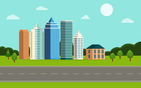 City landscape illustration. Front view cityscape. Urban panorama in flat graphic style. Town with street, road and nature. Horizontal banner with skyscrapers, flat houses. Design vector background Иллюстрация