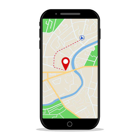 Map gps navigation in mobile phone. Online application of direction on map for car in smartphone screen. Location on city street for passenger of taxi. Gps navigation of route in phone. Flat vector