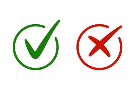 Correct, incorrect sign. Right and wrong mark icon set. Green tick and red cross flat simbol. Check ok, YES, no, X marks for vote, decision, web. True, false checkbox. Verify sign. vector illustration