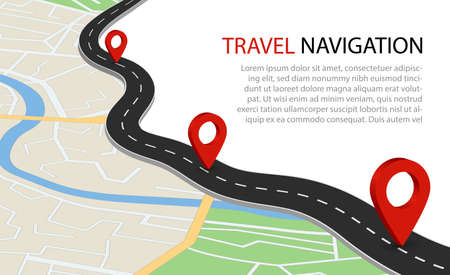 Flat map with road. Gps navigation with point for travel. Simple information background of city with river. Plan of route for transport with orientation point. Scheme map from satellite. Design vector Иллюстрация