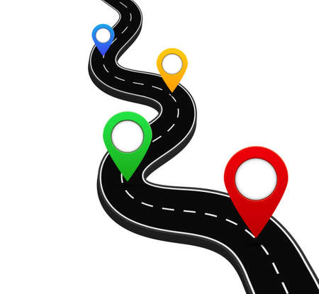3d road with gps navigation pin. Route road with point for direction in travel. Marker location on street of city. Destination of path. Plan of way with orientation poin. Journey concept. vector