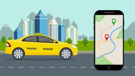 Taxi cab with mobile app. Taxi service with online map on phone, city background. Smartphone application with location ride on street. Yellow car on road by order of passenger. Flat design vector Иллюстрация