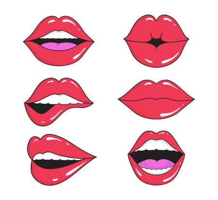 Woman's lips with smile, kiss. Mouths collection of girl retro style for comic book. Female open mouth with teeth. Sticker lip shape for face. Lady with red lipstick, makeup expressing emotion. Vector Иллюстрация