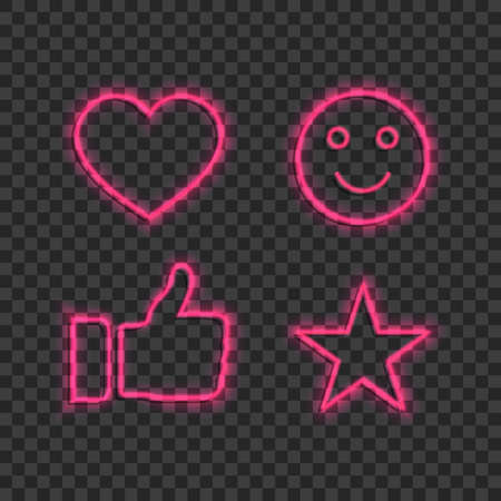 Neon thumbs up, heart, star, smile for social media. Like, ok icon collection isolated on transparent background. Neon lights signs for social networks board. Heart, star glowing sign. Design vector