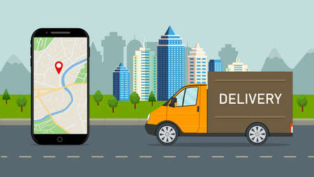 Delivery truck with online service in mobile app. Logistic route of lorry in city. Parcel shipment in mobile application. Order tracking on screen phone. Van truck deliver goods on warehouse. vector Иллюстрация