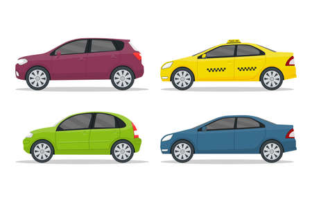 Set of cars on isolated background. Flat auto in side view. Design road vehicle of hatchback, sedan, suv type. Cartoon collection of machines for city road. Modern urban car icon. vector illustration Иллюстрация