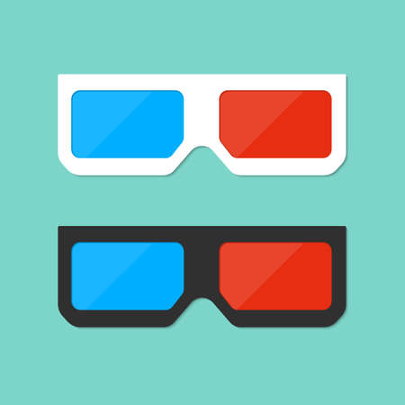 3d glasses icon in flat style. Stereo glasses for cinema or movie on isolated background. Red and blue vision eyeglasses for theater. Black and white spectacles. Design vector illustration