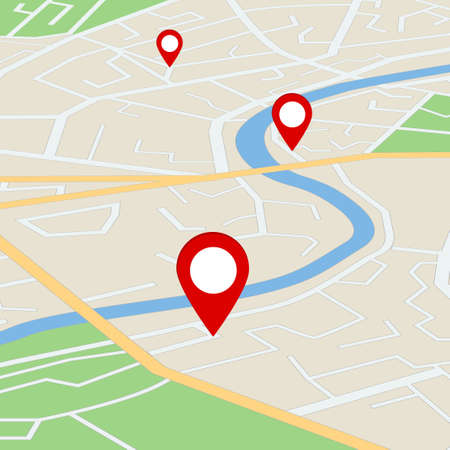Flat street map with direction. Gps navigation on road town with pins. Simple information scheme of city with river for travel. Plan of route with orientation point. Scheme map from satellite. vector