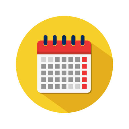 Flat calendar icon. Appointment event date in spiral calendar in yellow circle. Business deadline symbol. Month or week plan event for job. Schedule of day. Timetable in school. vector illustration Иллюстрация