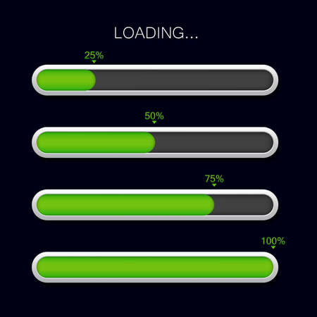 Loading progress bar. Green download icon. Glossy completion bar for ui. Scale download of time. Progress load status for website page on isolated background. Digital vector illustration