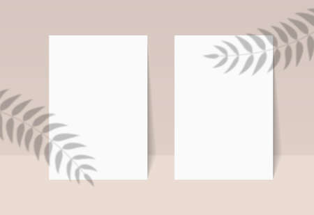 Blank poster with shadow overlay. Shadow plant on paper sheets a4 mockup. Tropical leaf silhouette on banner. Palm leaves blurred overlay and empty card for print text. Design vector illustration