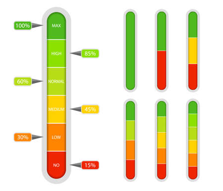 Indicator scale. Bar of meter with progress level from red to green. Vertical measuring ruler with percentage. Scale rating with low and high level. Comparison icon with 2, 3, 4, 5 graph. vector