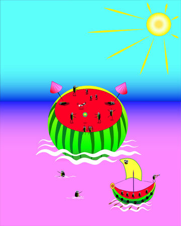 Water-melon.Rest on a nature.Illustration.Vector. Stock Vector - 8604661