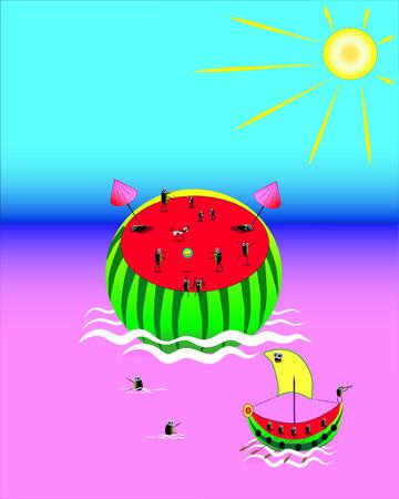Water-melon.Rest on a nature.Illustration.Vector. Illustration