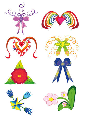 Bows and flowers.Illustration. Vector.