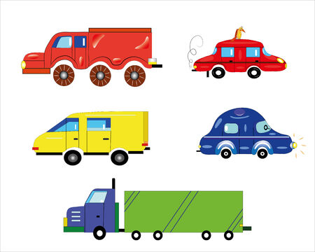 Various types of transport.Illustration. Vector.