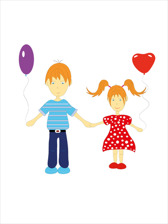 The brother and sister go for a walk.Illustration. Vector. Stock Vector - 8604664