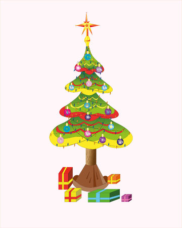 Christmas tree and gifts. Illustration.Vector.