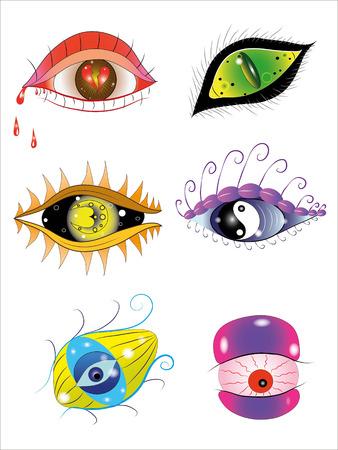 Six different fantastic eyes. Illustration.Vector.