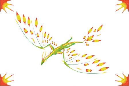 Flight green dragon in the sky. Illustration.Vector.