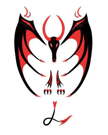 Red black dragon on a white background. Illustration.Vector.