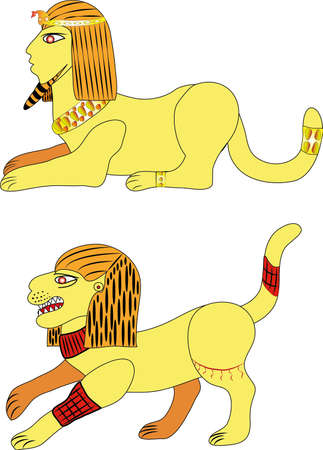 Two Sphinx or two lion.Illustration.Vector.