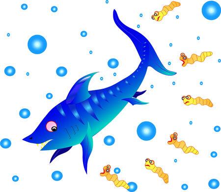 The shark floats at ocean.  Illustration.Vector. Stock Vector - 8614706