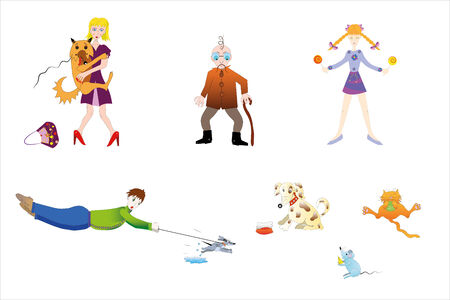 The people and their liked home pupils. Illustration.Vector.
